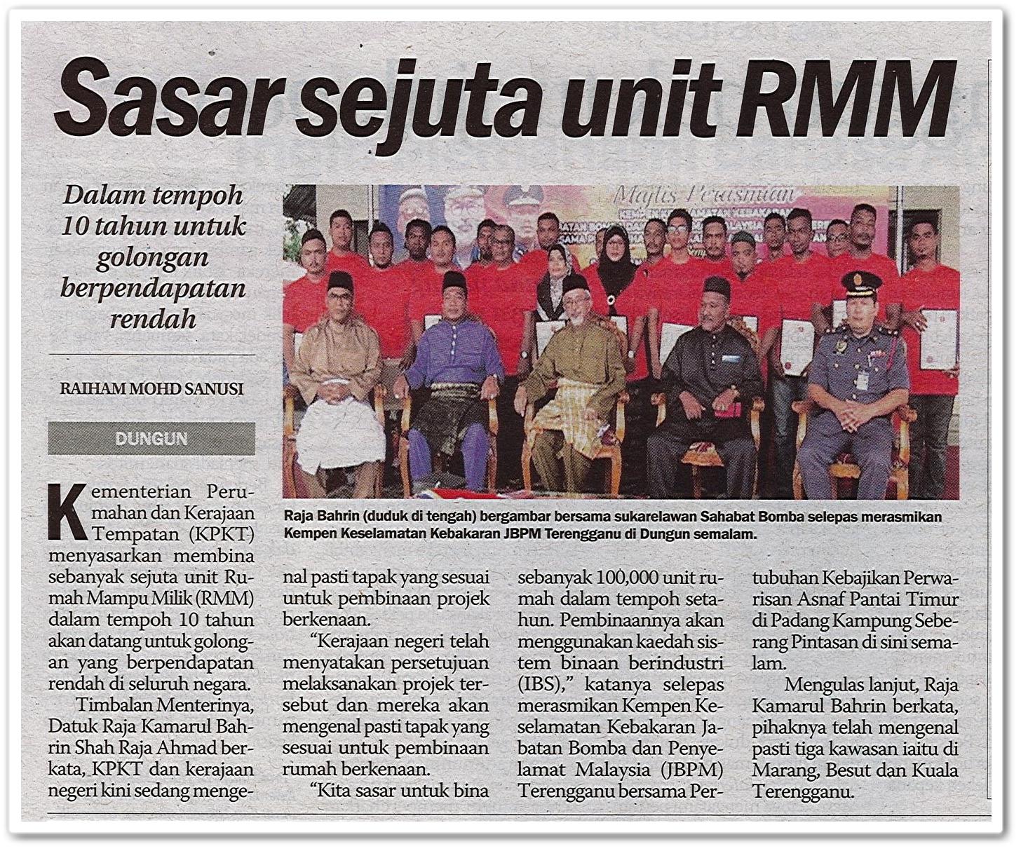 Sasar sejuta unit RMM - Keratan akhbar Sinar Harian 18 Mei 2019