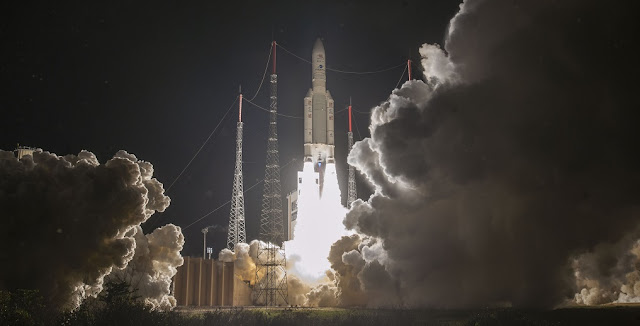 Ariane 5 ascends from the Spaceport's ELA-3 launch complex on Arianespace's seventh mission of 2018, which deployed Europe's first mission to Mercury into an Earth escape orbit. Credit: Arianespace