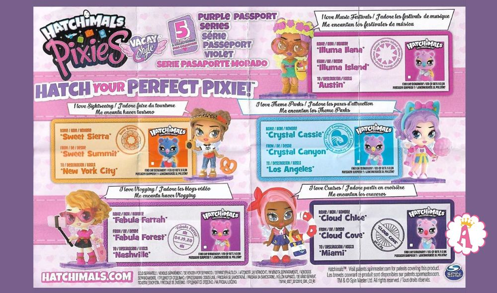 Серия игрушек Hatchimals Pixies Vacay Style Purple Passport 2020