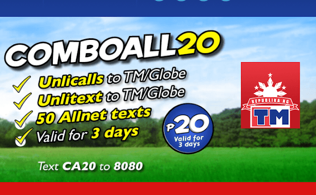 TM COMBO ALL 20 : Unli Call and Text for 3 Days Plus 50 Other Network