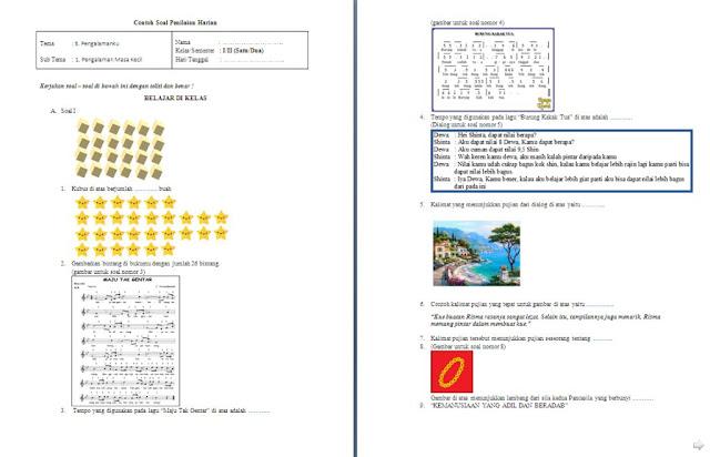 Soal Penilaian Harian (PH) Kelas 1 SD/MI: Tema 5