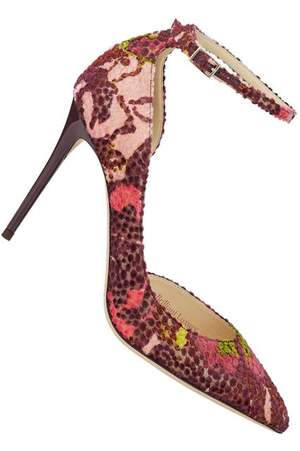 Jimmy Choo Lucy red floral pointed-toe velvet pump #brilliantluxury