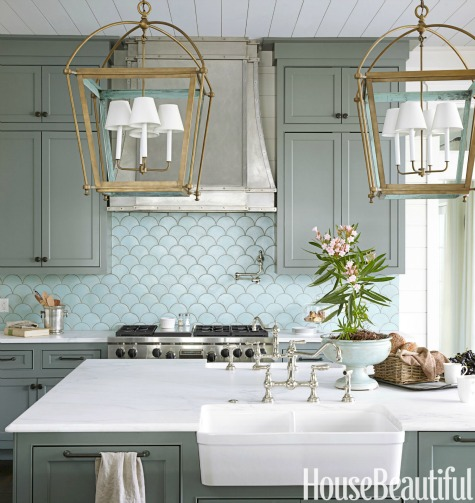 Blue Fish Scale Backsplash Tiles