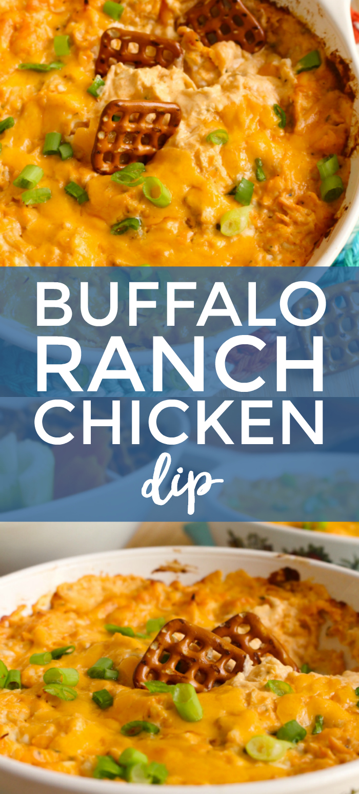 Buffalo Ranch Chicken Dip is creamy, cheesy, spicy, and so delicious! It's the perfect dip for parties and game day. #buffalochicken #appetizer #diprecipe