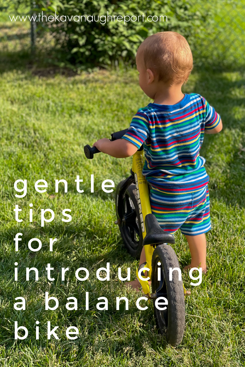 Gentle and easy tips to introduce a balance bike to your Montessori toddler. This can be done at 1-year-old or 2-years-old depending on the child.