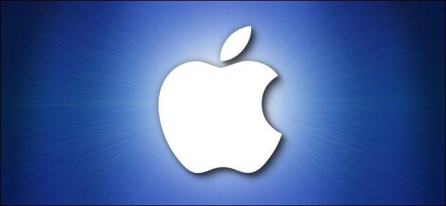 شعار أبل على خلفية زرقاء