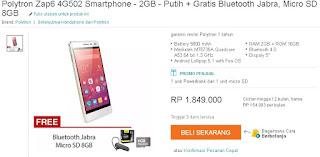 Harga dan Promo Polytron Zap 6 Power 4G502 Android Murah Baterai Besar 5800 mAh