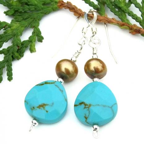 turquoise earrings gift for women