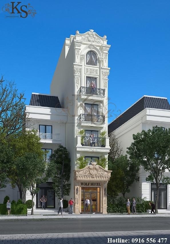 Hình ảnh: Phương án sử dụng màu sắc tinh tế của thiết kế khách sạn mini với gam màu chủ đạo là trắng, vàng be.