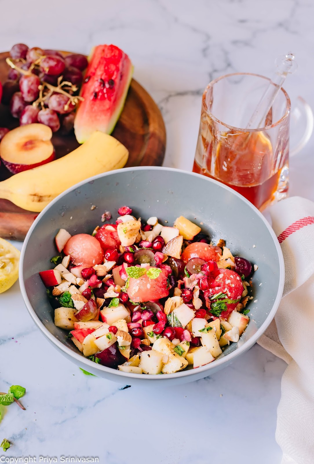 fruit salad with almonds