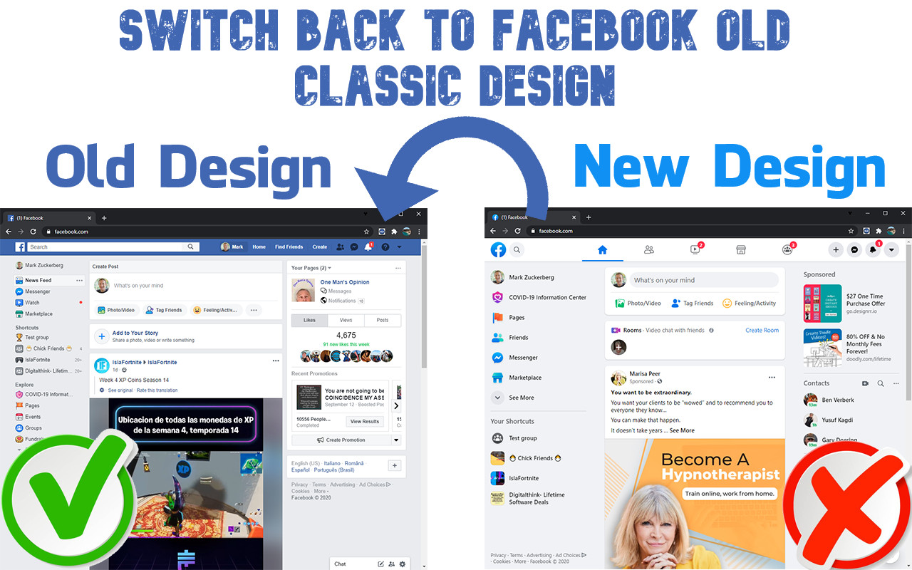 Switch back facebook classic mode, get back facebook old mode, how to get facebook old design, addons for facebook old version, extension for facebook old layout, how to go facebook old design.