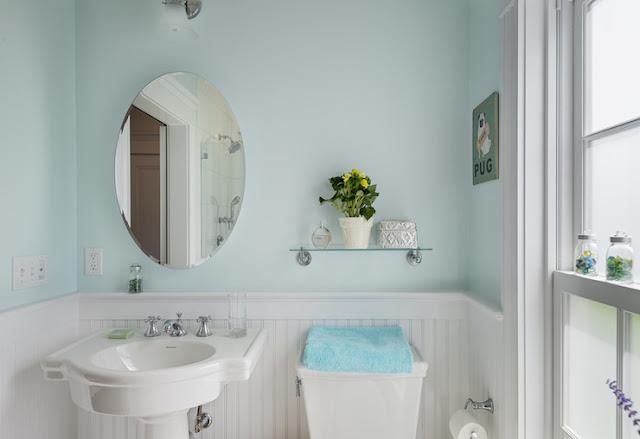 Elegant guest bathroom design with antique mirror