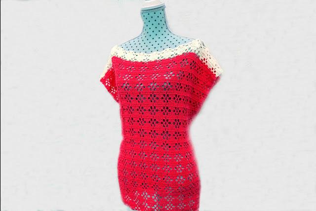 4 - Imagenes Crochet Blusa túnica playera a crochet facil sencilla paso a paso por Majovel Crochet
