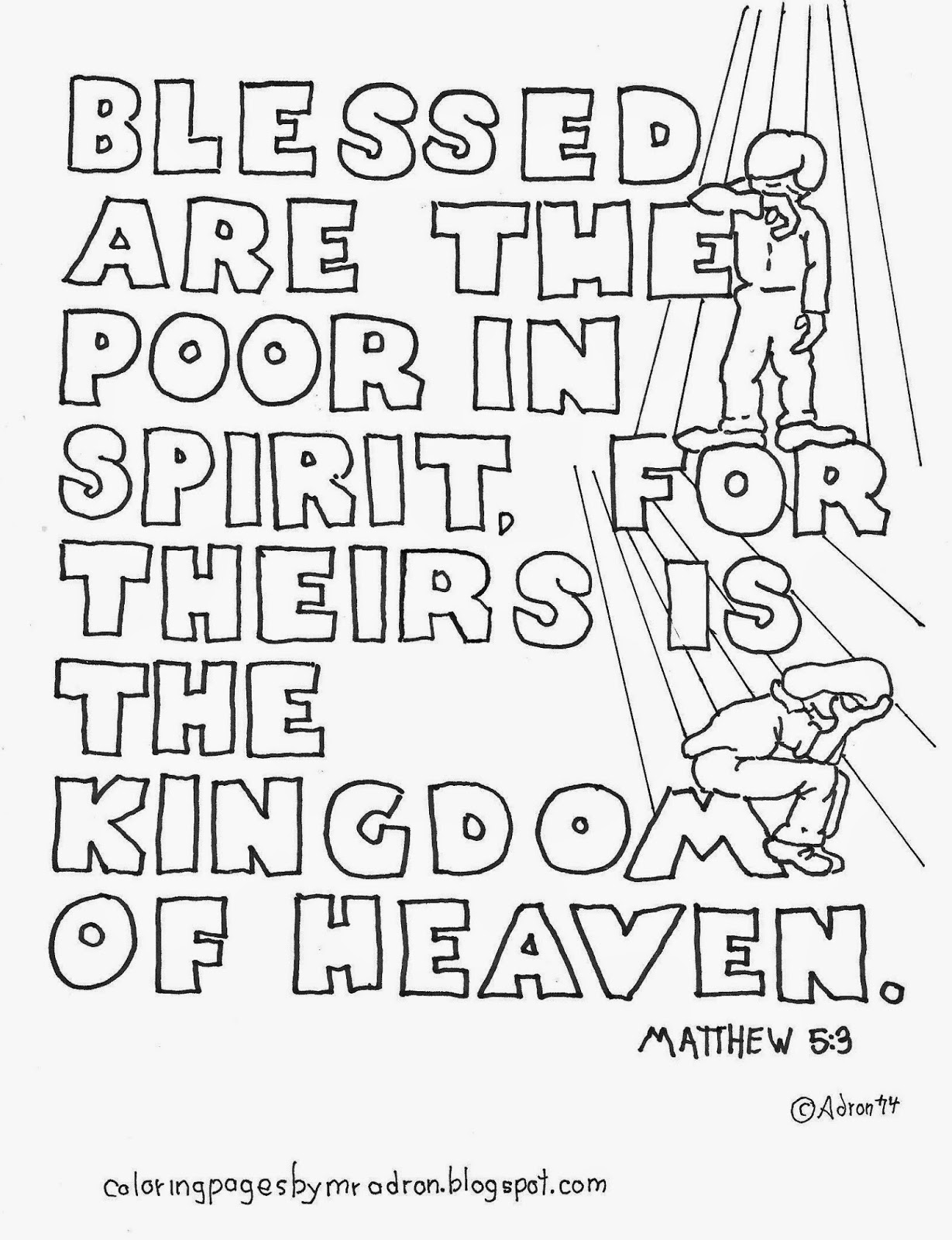 An illustration for Matthew 5:3 to print and color.