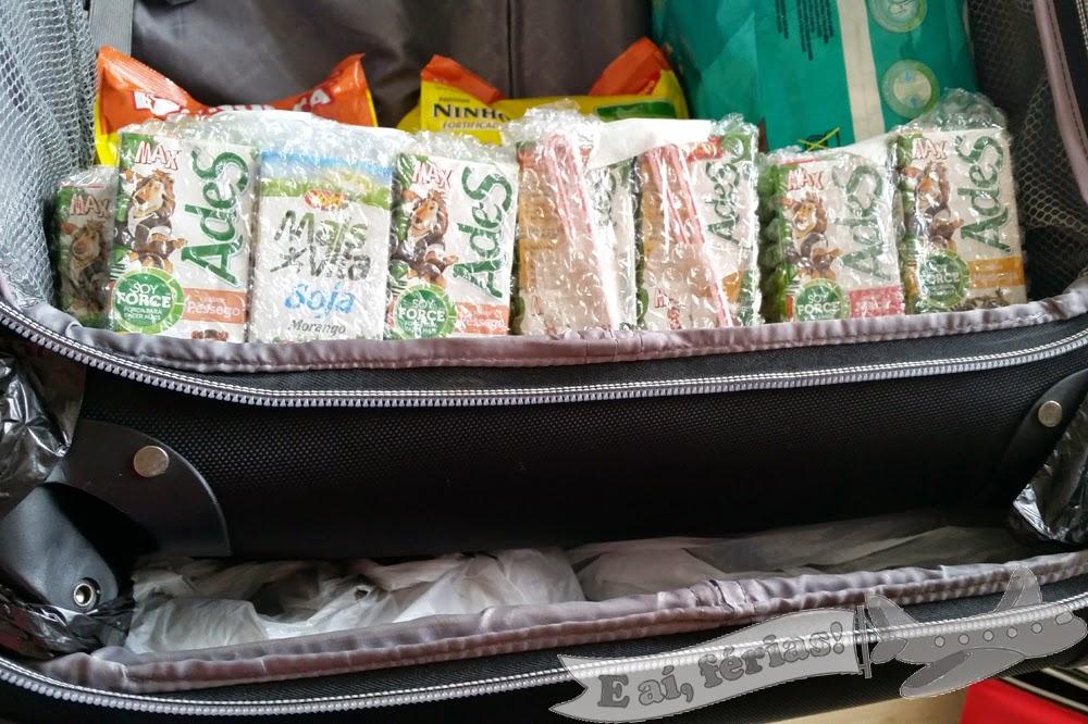 Tudo embalado na mala para viagem
