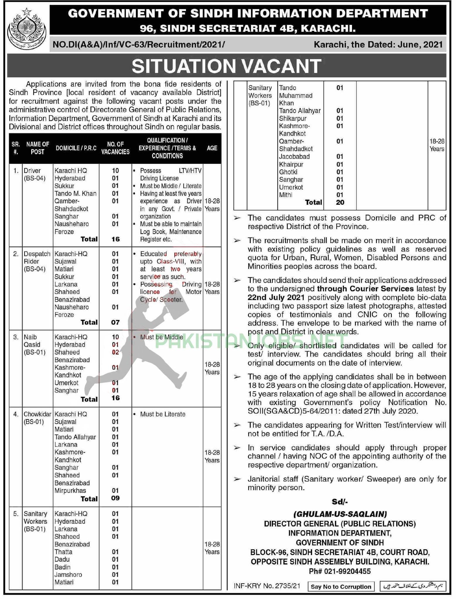 Information Department Govt Jobs 2021