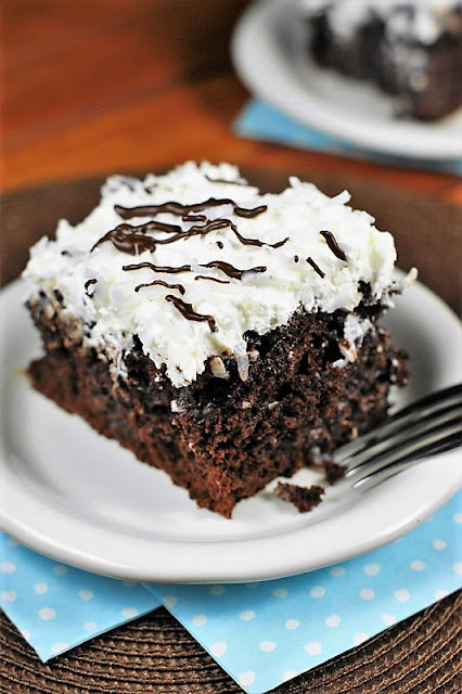 Coconut Chocolate Poke Cake with Coconut Whipped Cream Frosting Image