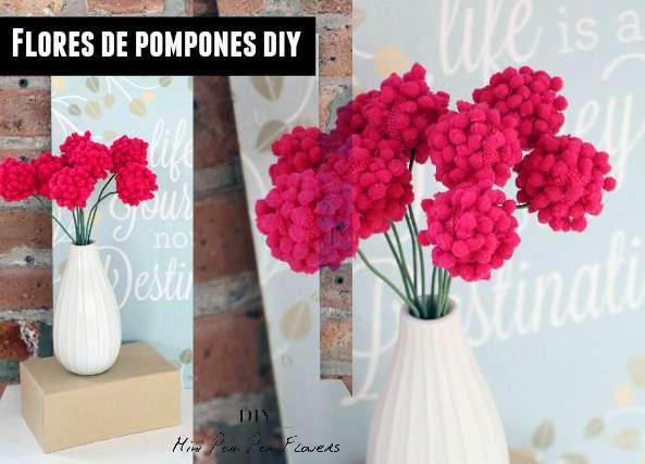 flores de pompones, diy pompones, pom pon, manualidades, hogar
