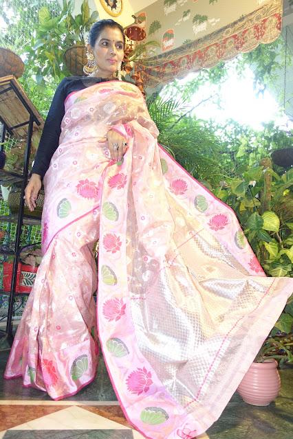 Baby pink Kita Doria Saree