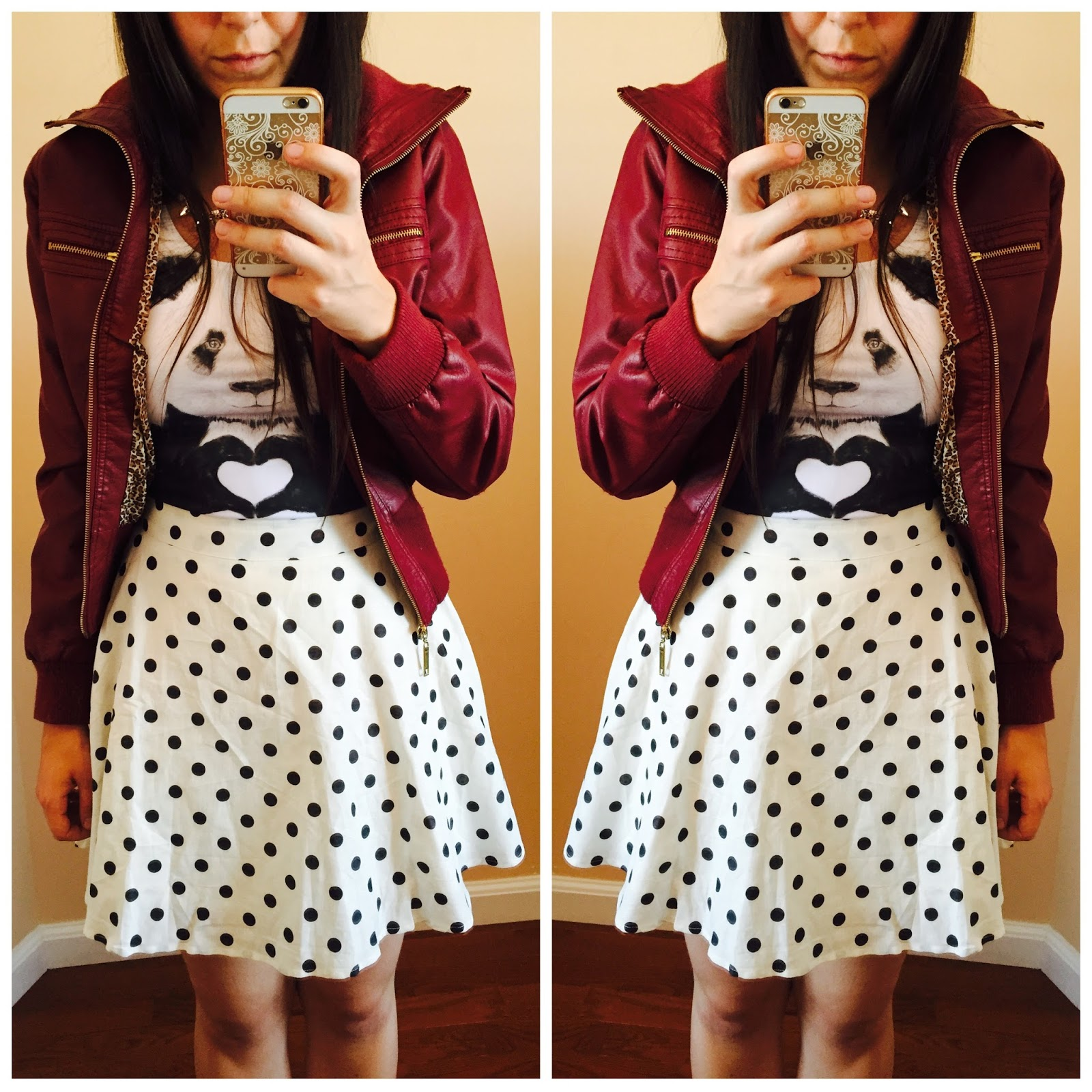 burgundy leather jacket, burgundy jacket outfit, polka dot skirt, polka dot skirt outfit, panda tank top,