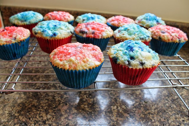 Food Lust People Love: These star-spangled muffins are baked up with strawberries, blueberries and oatmeal. Cubes of cream cheese are folded in the batter for extra richness. Top them with some colored sugar sprinkles for a festive treat.