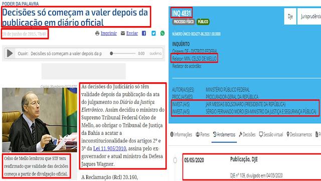BOMBA!! Inquérito de Celso de Mello contra Bolsonaro será anulado por 2 fatos comprovados