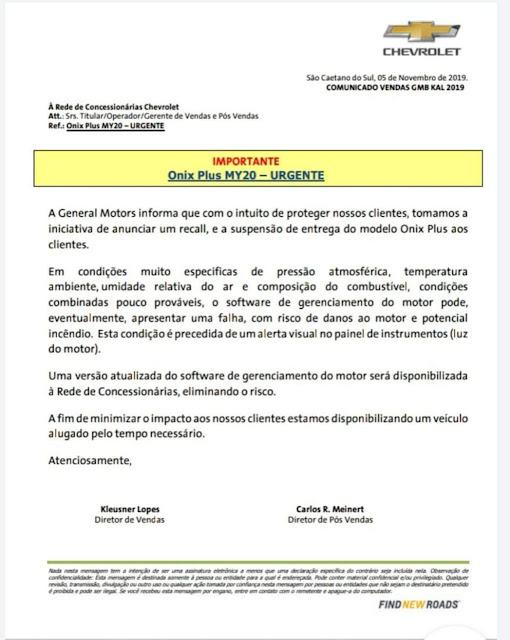 M suspende venda do Onix Plus para recall - risco de incêndio