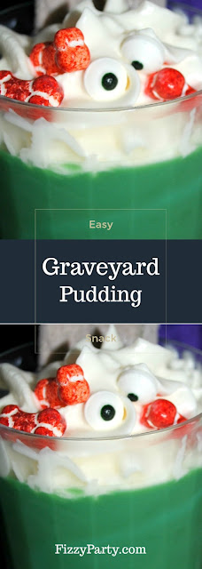 Easy Graveyard pudding snack for Halloween