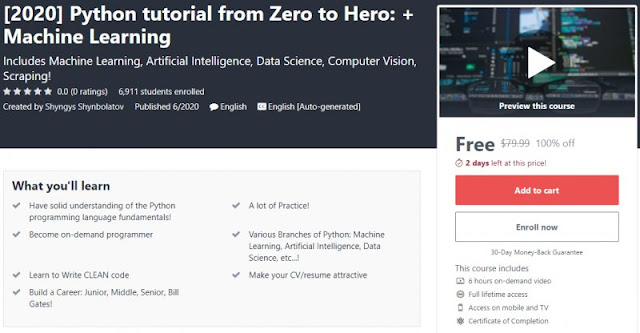 [100% Off] [2020] Python tutorial from Zero to Hero: + Machine Learning| Worth 79,99$