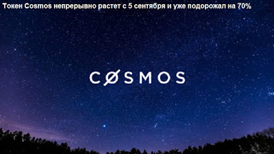 Токен Cosmos непрерывно растет с 5 сентября и уже подорожал на 70%