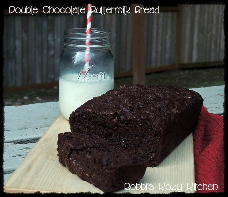 This Double Chocolate Buttermilk Bread recipe is easy to make and so rich, moist, and tender! #chocolate #cake #bread #buttermilk, #chocolatechip #easy #recipe | bobbiskozykitchen.com