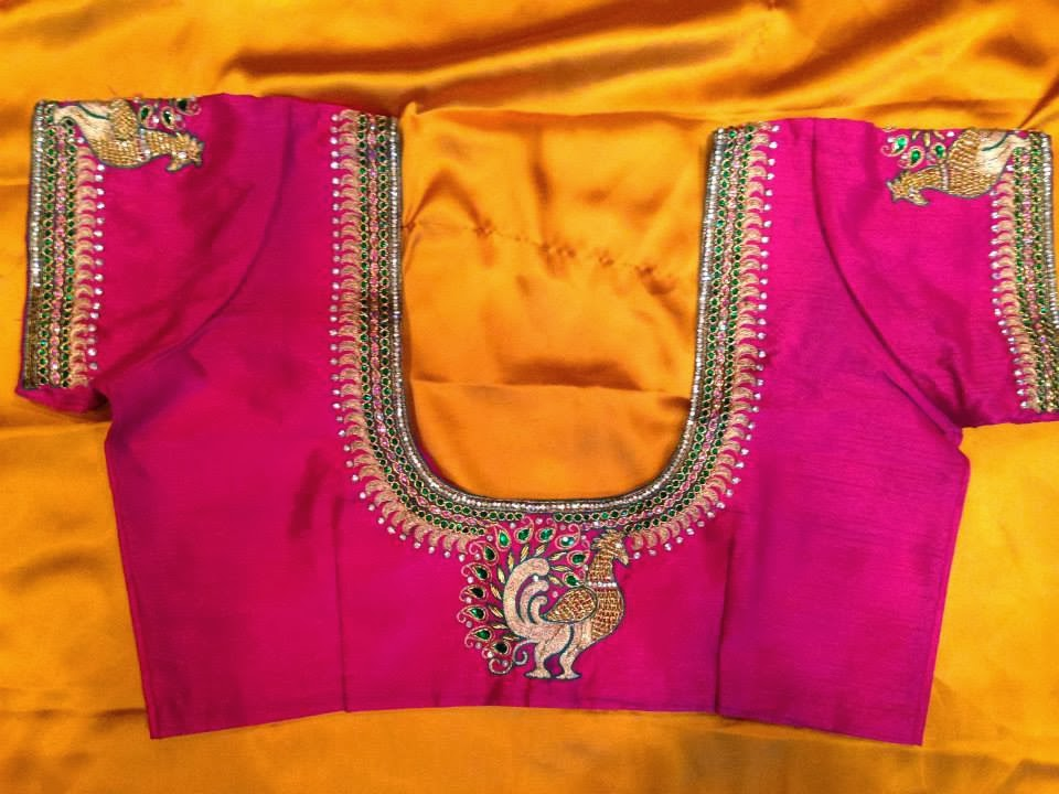 f89156dcbfc6f2 Latest maggam work designs for saree blouses