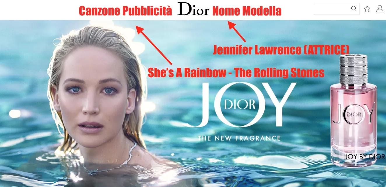pubblicità profumo joy di dior, titolo canzone spot e nome modella testimonial