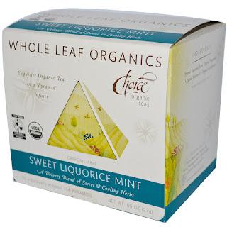 شاي النعناع وعرق السوس عضوي Choice Organic Teas, Whole Leaf Organics, Sweet Liquorice Mint, Caffeine-Free, 15 Tea Pyramids, .95 oz (27 g) من اي هيرب