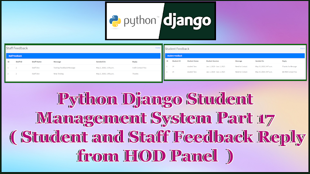 Python Django Student Management System Part 17 | Reply Staff and Student Feedback From Admin Panel