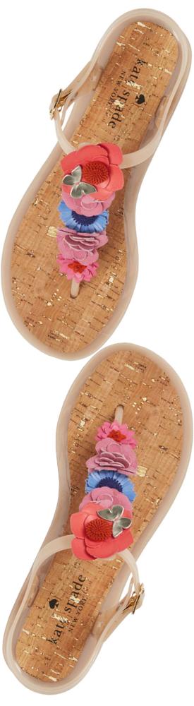 KATE SPADE NEW YORK Fatema Floral Embellished T-strap Sandal