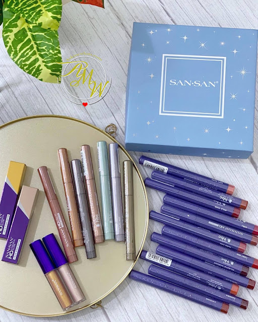 a photo of San San Cosmetics NEW Products Releases.  New San San HD Stellar Eyes Color Cream Pen review, HD Lip Crayons review and HD Ethereal Glow Highlighter.