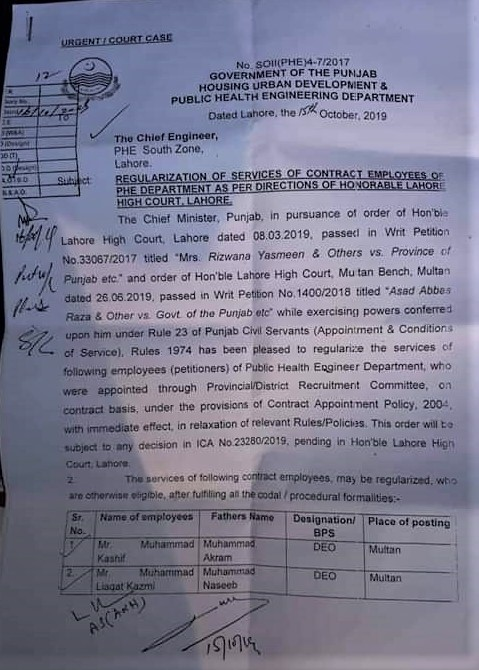 REGULARIZATION OF SERVICES OF CONTRACT EMPLOYEES OF PHE DEPARTMENT AS PER DIRECTIONS OF HONORABLE LAHORE HIGH COURT LAHORE