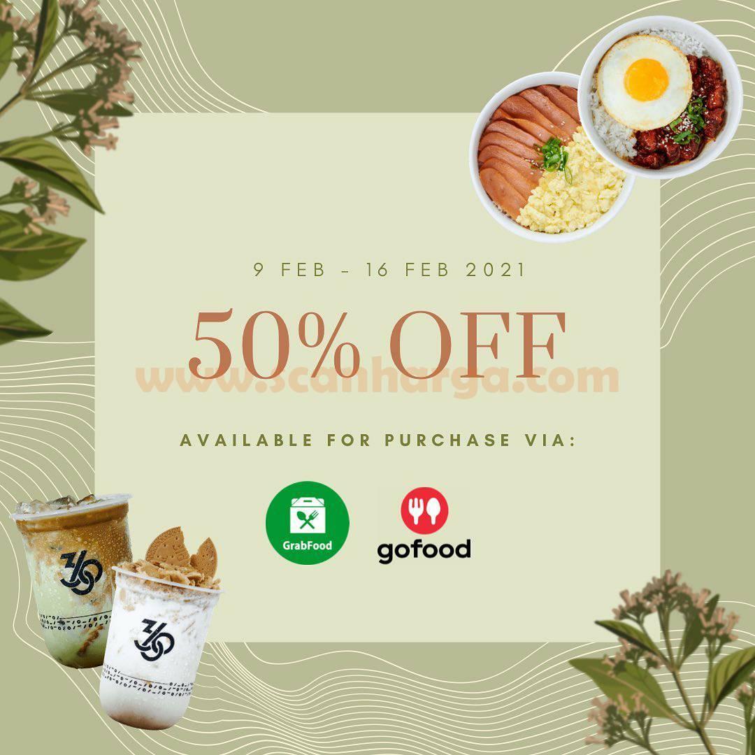 Promo KOPI 360 Diskon 50% khusus pemesanan Via GoFood & GrabFood