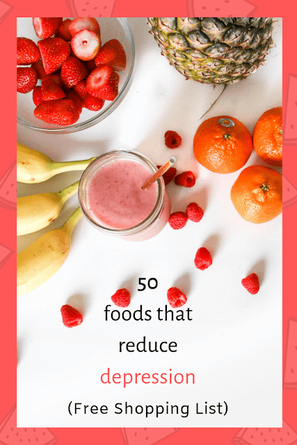 pinterest graphic for free anti-depression foods shopping list