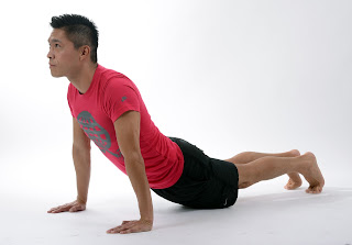 A man performing the knee push-up