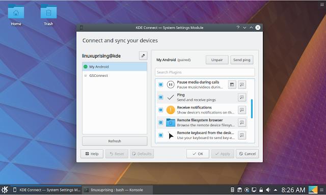 KDE Connect Plasma desktop