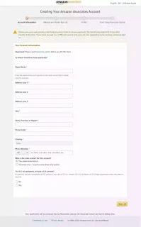 Amazon Affiliate form