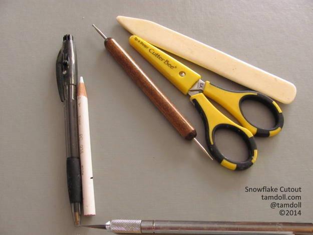 gather simple supplies, scissor, xacto, pencils