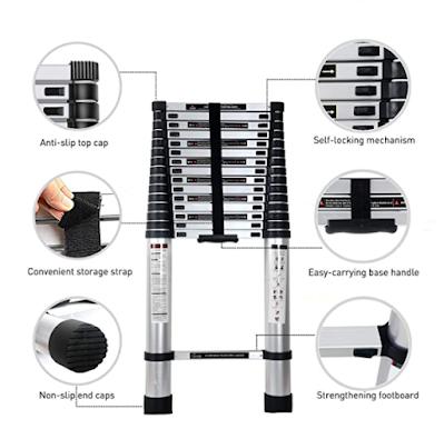 Corvids Portable & Compact Aluminium Telescopic Ladder for Indoor & Outdoor use