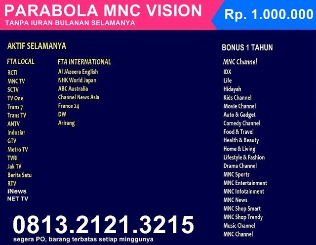 Paket Tanpa Iuran Siaran selamanya mnc vision indovision top transvision indihome