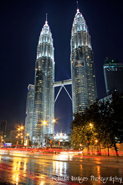 national landmark petronas towers night photography