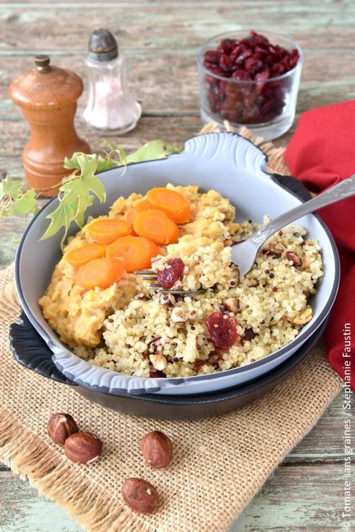 Quinoa aux noisettes et cranberries, lentilles corail aux épices