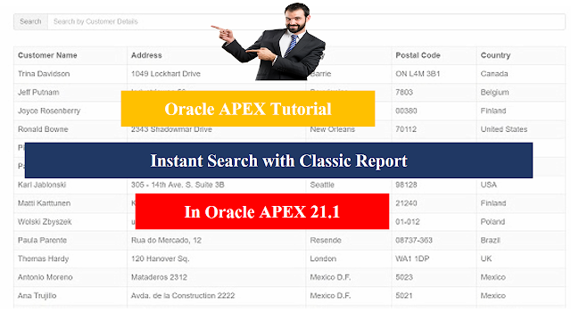 Instant Search with Classic Report in Oracle APEX 21.1 - Javainhand Tutorial