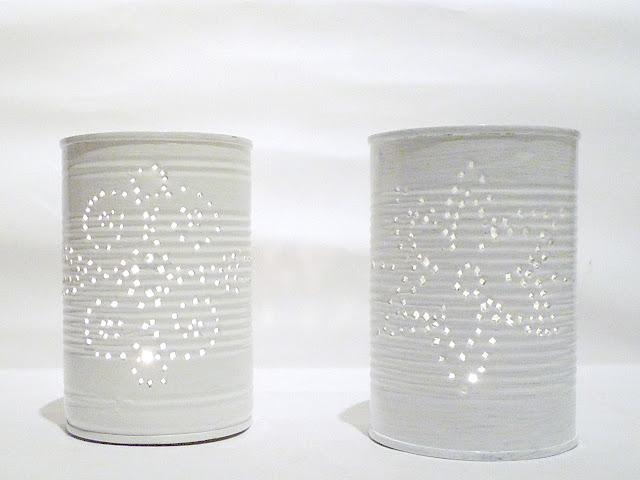weiße Dosenlaternen aus Konservendosen
